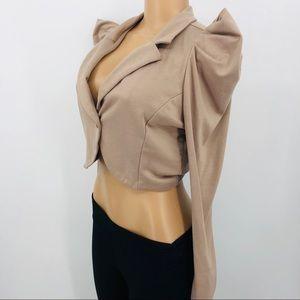 Jackets & Coats - Puff Sleeve Crop Jacket